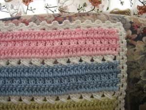 Soft Stripes Cross Over Double Crochet Afghan