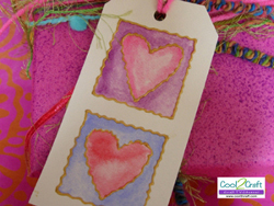 Watercolor Hearts Gift Tag