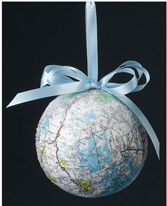 Recycled Map Christmas Ornament