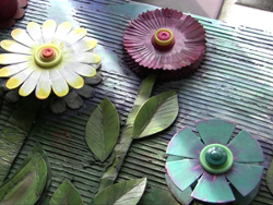 Cardboard Ribbon Spool Flowers