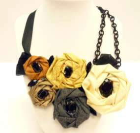 Roses, Ribbons & Chains Bib Necklace