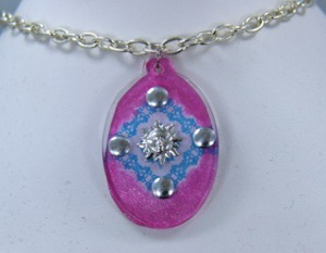 Stamped Blue Lace Charm and Pendant