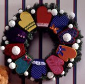 Christmas Greeting Mitten Wreath