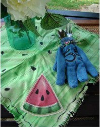 Dyed Napkin With Watermelon Applique