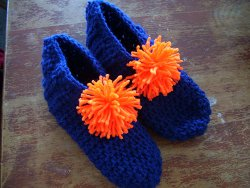 Orange and Blue Crochet Slippers