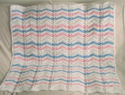 Pink and Blue Single Shell Ripple Afghan