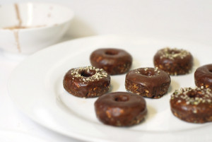 Double Cacao Dipped Mini Doughnuts