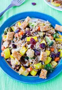 Pumpkin Spiced Brown Rice Tempeh and Cranberry Salad