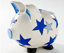 Piggy Bank Blue Stars