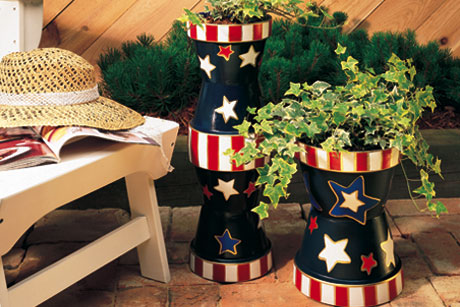Painted Stars and Stripes Planters