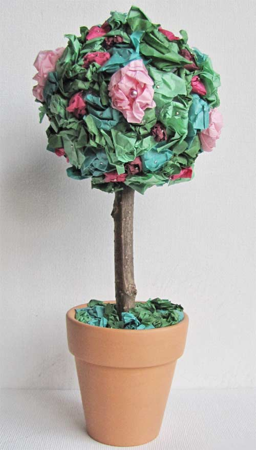 Tissue flower topiary tree favecrafts tissue flower topiary mightylinksfo