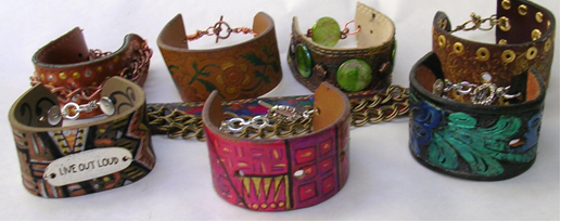 recycled belt bracelets
