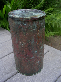 Recycled Coffee Container After with Faux Antique Copper Finish