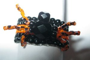Spooky Beaded Spider Ring