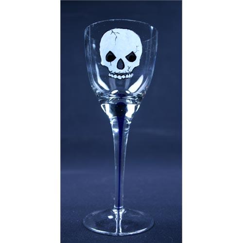Skull Painted Wine Glass