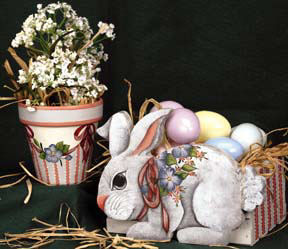 Easter Floral Pot and Bunny Egg Box