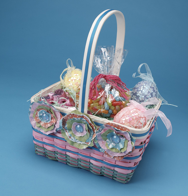 Paper Flowers Easter Basket