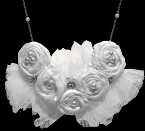 Pearl Rosette Bib Necklace