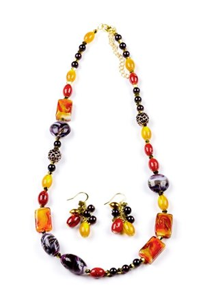 autumn necklace and earring set