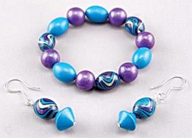 Polymer Clay Beaded Bracelet and Earrings