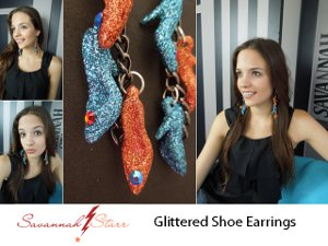 glittered shoe earrings