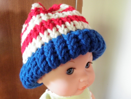 American Flag Loom Knit Hat Version 1