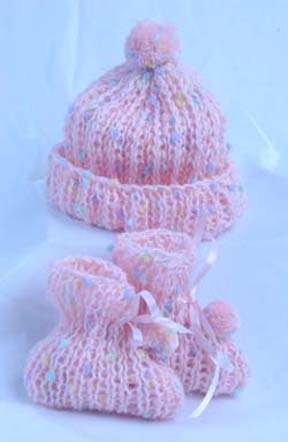 Simply Adorable Baby Booties And Matching Hat With Pompom