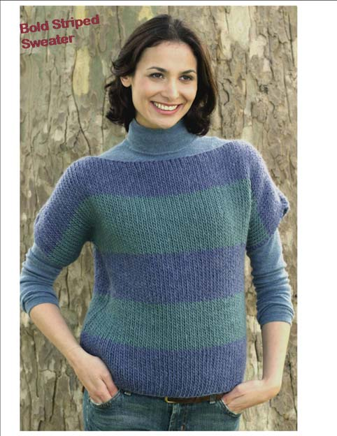 Boatneck Sweater in Bold Stripes | FaveCrafts.com