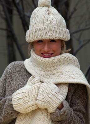 Cable Knit Hat, Scarf and Mittens