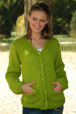 Free Knitted Sweater Patterns For Women : Comfortable Pocket Cardigan Knitting Pattern FaveCrafts.com