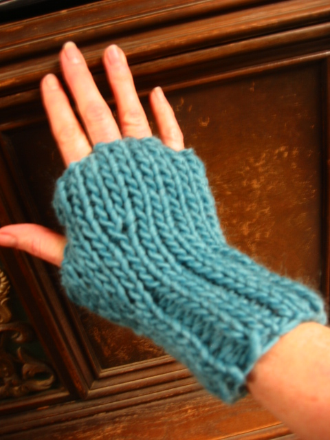 Knitting Pattern Of Gloves : Julianne Fingerless Gloves FaveCrafts.com