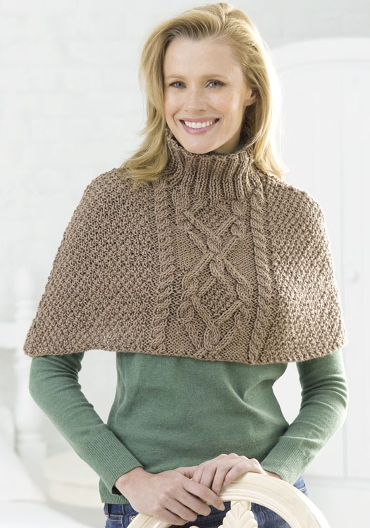 Cable Half-Poncho Knitting Pattern