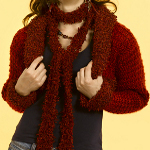 Knit Cropped Jacket with Scarf