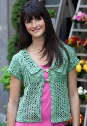 Garter Lace Cardigan Knitting Pattern From Red Heart Yarn