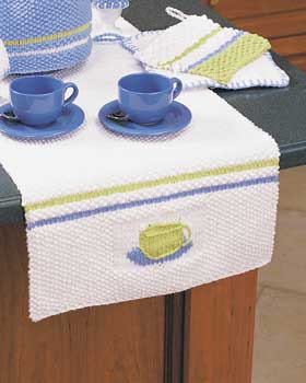 Knit Teacup Table Runner