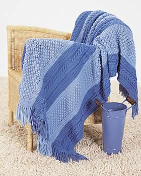 Patterned Blue Knit Blanket