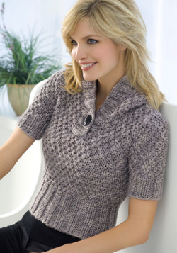 Knitting Patterns Womens Sweaters : Short Sleeve Hooded Sweater Knitting Pattern FaveCrafts.com