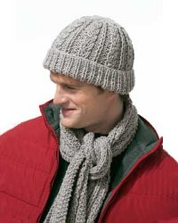 Knitting Patterns For Men s Hats And Scarves : Gray Knit Scarf Set for Men FaveCrafts.com