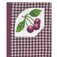 Cherries Cross Stitch Gingham Notebook