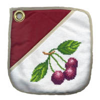 cherry cross stitch oven pad