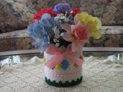 Shells and Ribbon Flower Vase