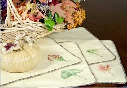 Cross-Stitch Leaf Place Mats