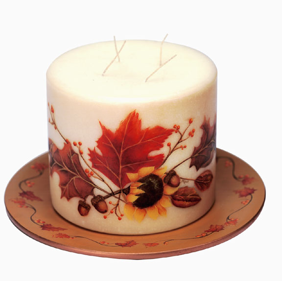 Fall Harvest Candle and Plate