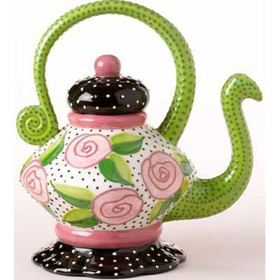 Polka Dot Rose Teapot