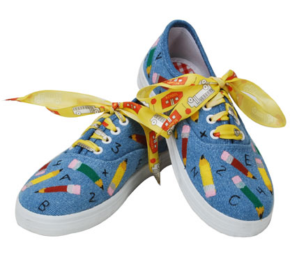 School Themed Painted Sneakers