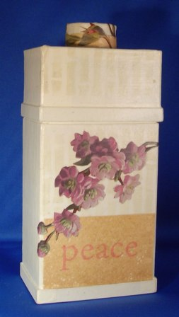 Floral Decoupage Mache Bottle