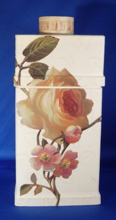 Rose Decoupage Mache Bottle