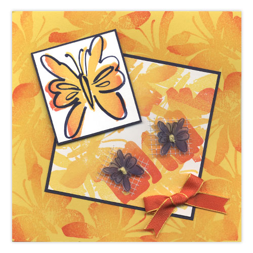 Butterfly Button Stamped Card