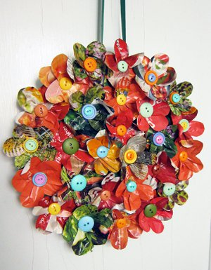 magazine floral wreath