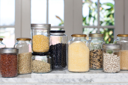 Glass jars with grains